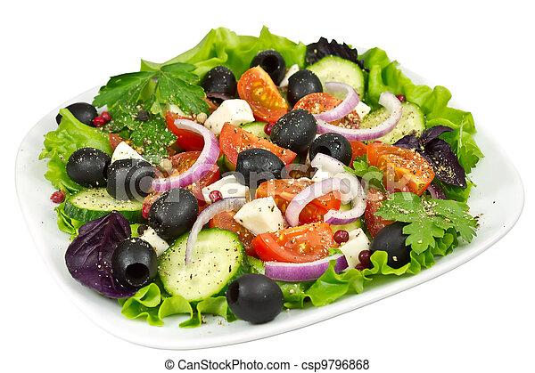 salad,  tomato, olives, basil, onion and mozzarella - csp9796868