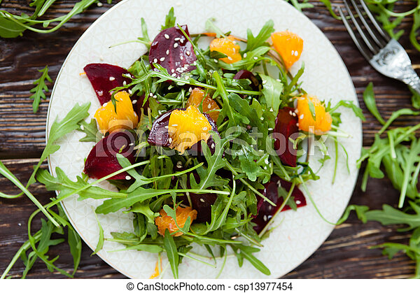 salad with arugula and beets - csp13977454