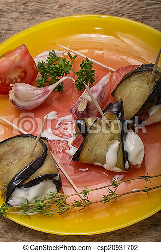 salad with aubergines and tomatoes - csp20931702