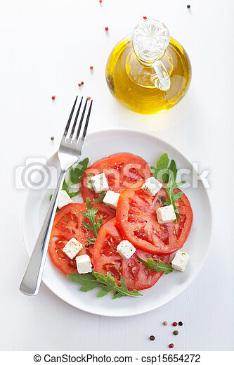 salad with beef tomatoes and feta - csp15654272