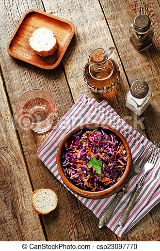 salad with carrots and red cabbage - csp23097770