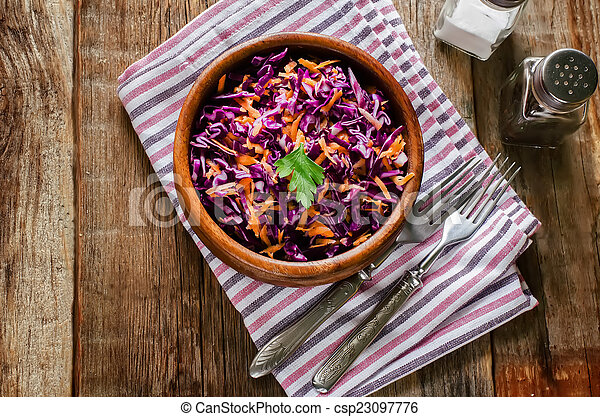 salad with carrots and red cabbage - csp23097776