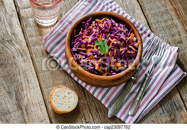 salad with carrots and red cabbage - csp23097762