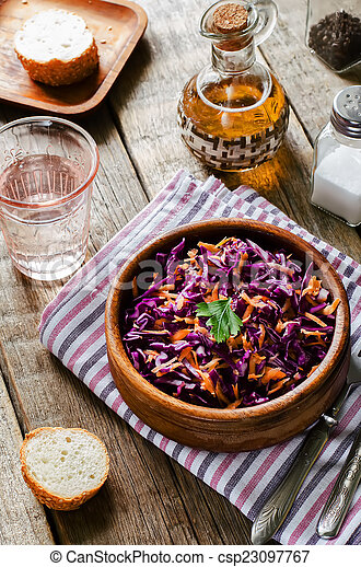 salad with carrots and red cabbage - csp23097767