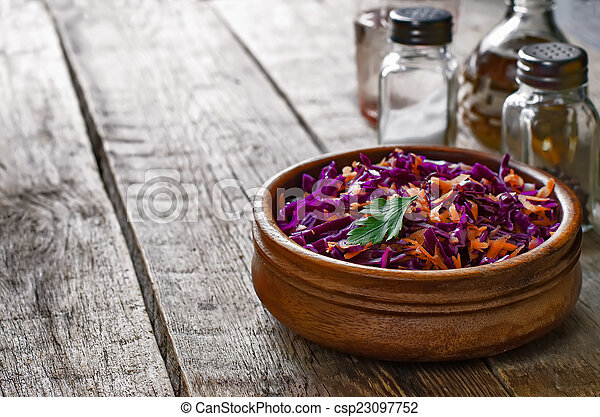 salad with carrots and red cabbage - csp23097752