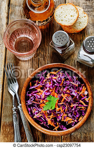 salad with carrots and red cabbage - csp23097754