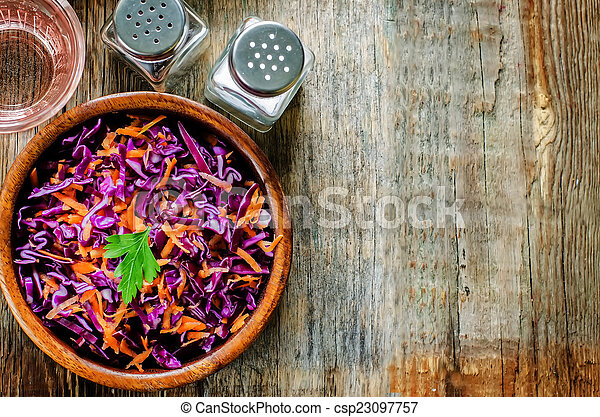salad with carrots and red cabbage - csp23097757