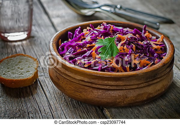 salad with carrots and red cabbage - csp23097744