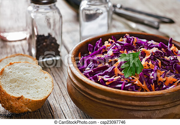 salad with carrots and red cabbage - csp23097746