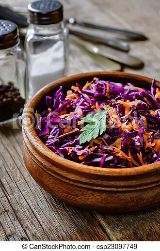 salad with carrots and red cabbage - csp23097749