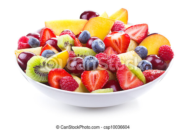 salad with fresh fruits and berries - csp10036604