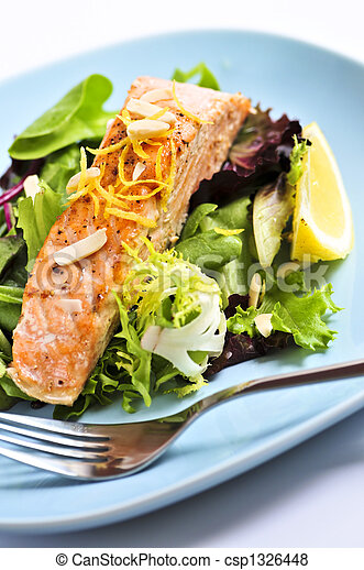 Salad with grilled salmon - csp1326448