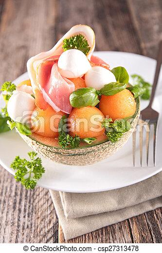 salad with melon, prosciutto and mozzarella - csp27313478