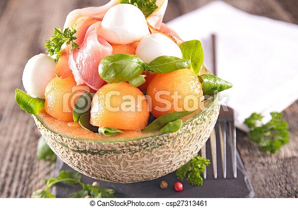 salad with melon, prosciutto and mozzarella - csp27313461
