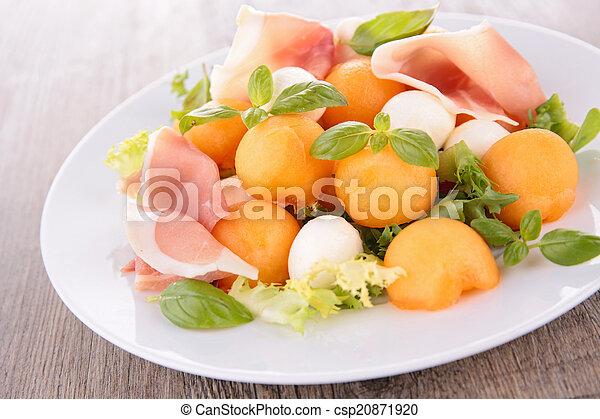 salad with melon, prosciutto and mozzarella - csp20871920