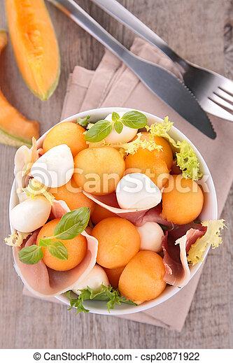 salad with melon, prosciutto and mozzarella - csp20871922