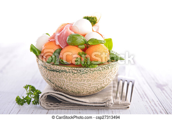 salad with melon, prosciutto and mozzarella - csp27313494