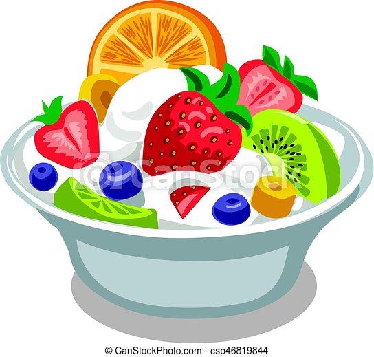 Illustration of fruit salad with yogurt in bowl.