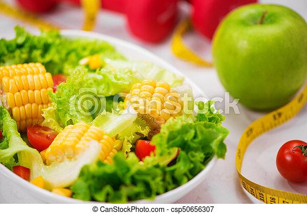 salad., zdrowy, concept., dieta, stosowność, świeży, mąka - csp50656307