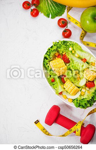 salad., zdrowy, concept., dieta, stosowność, świeży, mąka - csp50656264