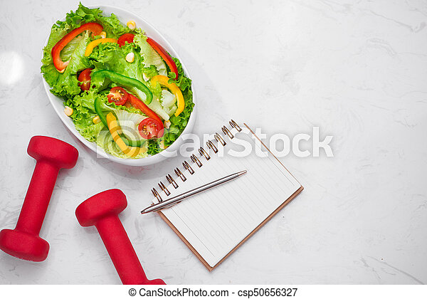 salad., zdrowy, concept., dieta, stosowność, świeży, mąka - csp50656327