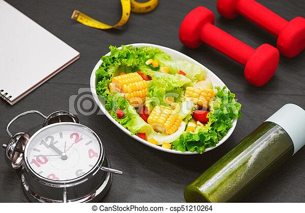salad., zdrowy, concept., dieta, stosowność, świeży, mąka - csp51210264
