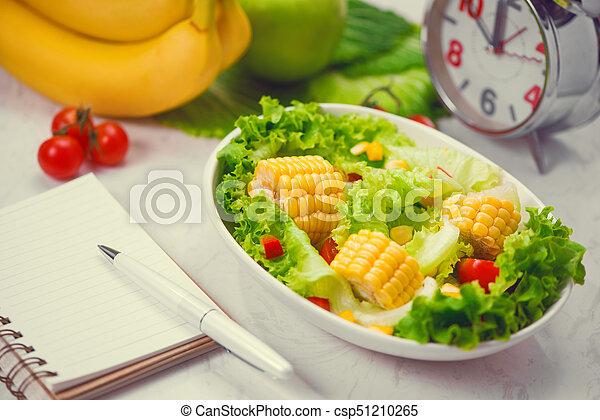 salad., zdrowy, concept., dieta, stosowność, świeży, mąka - csp51210265