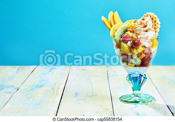 salada, fruta tropical, fresco, creme chicoteado - csp55838154