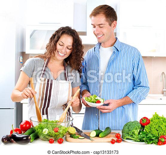 salada, par, cozinhar, jovem, junto, vegetal - csp13133173
