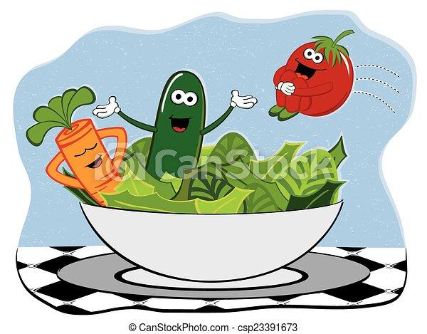salade, heureux - csp23391673