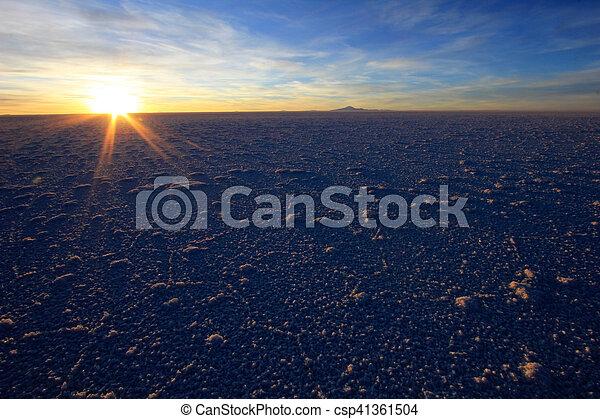 Salar De Uyuni Salt Lake Bolivia Sunset
