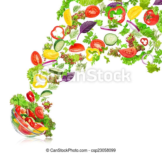 salat, gemuese, schüssel, gemischter, frisch, fallender , isolat - csp23058099