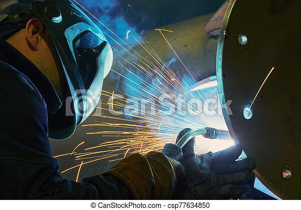 saldatura, arco, lavoro, industriale, scintille - csp77634850