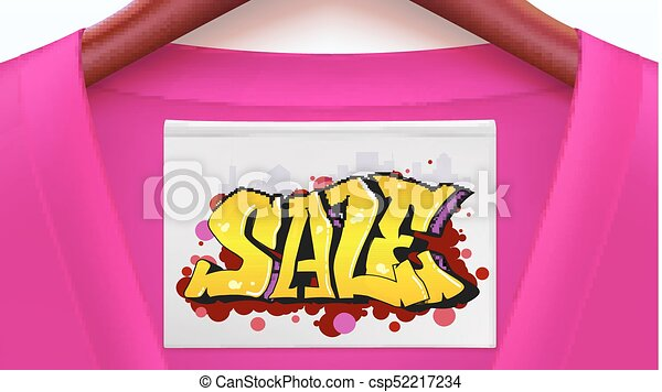 Sale ad banner with crimson shirt. Clothing with tag hanging on hangers. Graffiti style, urban art text. Stylish offer for your design of posters, print design. Horizontal 3D illustration - csp52217234