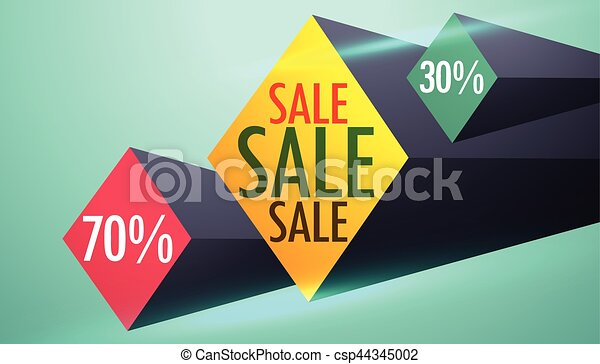 Sale and discount voucher design with 3d shapes vector clipart