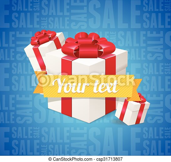 Sale Background Present Boxes. Vector - csp31713807