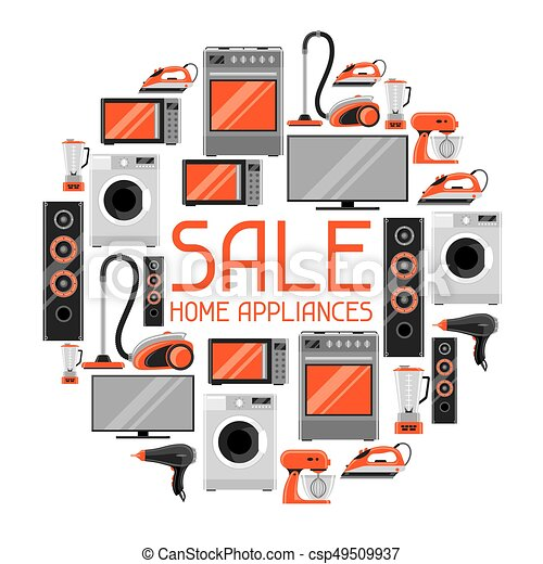 Sale Background With Home Appliances Household Items For Shopping And Advertising Flyer
