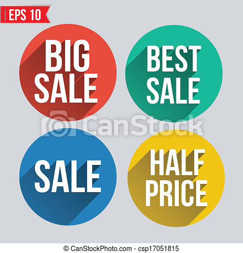 sale badge icon flat and long shadow design vector illustration