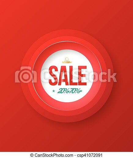 SALE baner circle on red background - csp41072091
