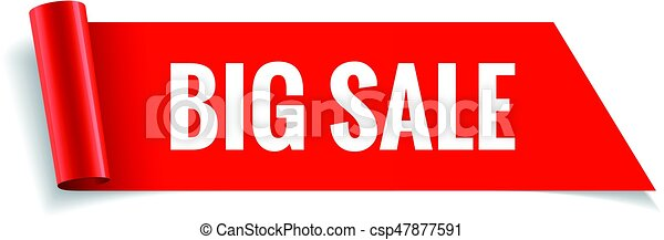 Sale banner. Realistic Red Glossy paper ribbon - csp47877591