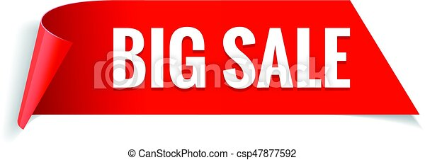 Sale banner. Realistic Red Glossy paper ribbon - csp47877592
