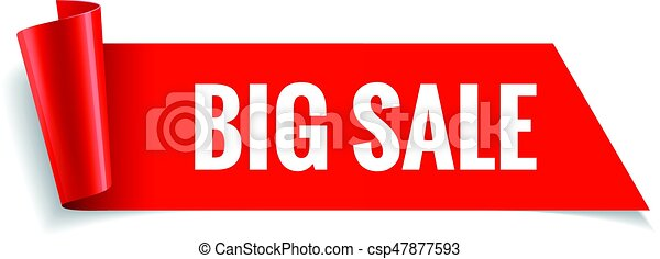 Sale banner. Realistic Red Glossy paper ribbon - csp47877593