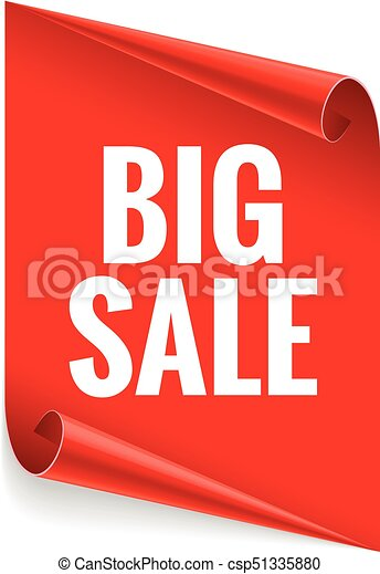 Sale banner. Realistic Red Glossy paper ribbon - csp51335880