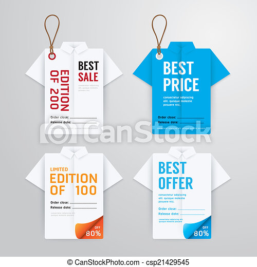 Sale Banners Price Tag Paper Card Template Shirt Origami Collection