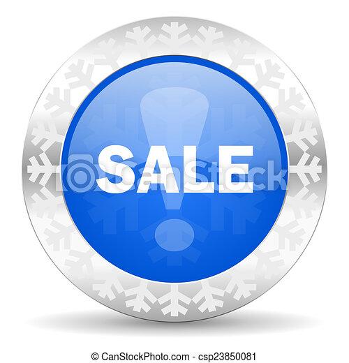 sale blue icon, christmas button - csp23850081