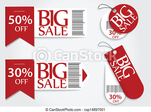Sale card red promotion percentage  - csp14897001