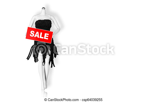 Sale concept. Mannequin holding sale sign isolated on white background. Copy space - csp64039255