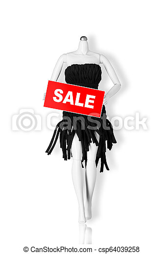 Sale concept. Mannequin holding sale sign isolated on white background. Copy space - csp64039258