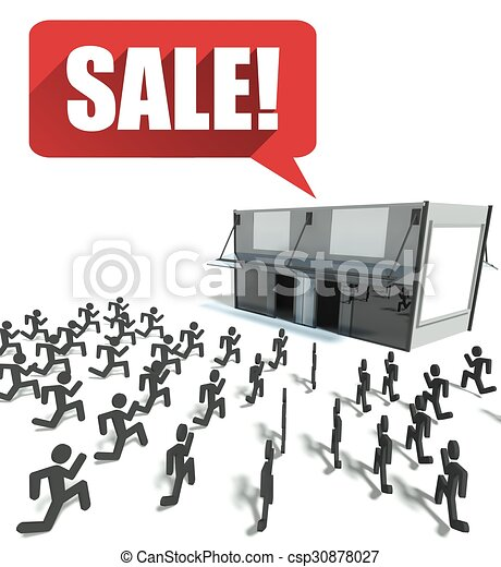 Sale Crowd Of People Running For Shopping