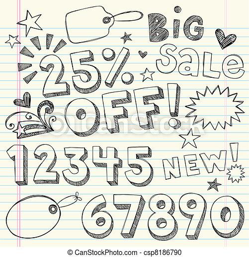Sale Discount Doodles Vector - csp8186790